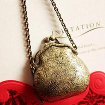 N396 Avon Vintage Stye Bronze Bag Locket Pendant Necklace New in Original Box Photo