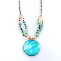 N458 Avon Vintage Style Large Blue Freshwater Shell Necklace New in Original Box Photo