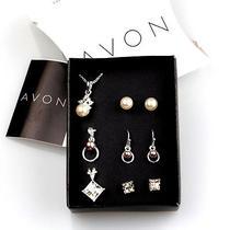 N461 Avon Bead Rhinestone 3 Slide & Earrings Set (W/ Chain) New in Original Box Photo