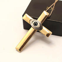 N72 Freedom Topshop Vintage Style Goldtone Cross With Eye Pendant Necklace New Photo