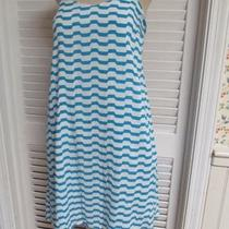 Naked Zebra Nordstroms Chevron Aqua White Sun Dress Spaghetti Straps L Large-New Photo