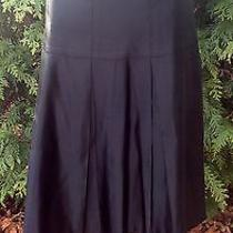 Nanette Lepore 100% Silk Satin Black Pleated Drop Waist Knee Length Skirt 10 Photo
