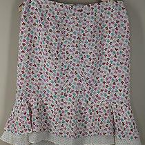 Nanette Lepore 6 Butterfly Polka Dot Flirty Straight Lined Light Silk Skirt Photo