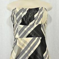 Nanette Lepore Black Cream Tafetta Tie Corset Plaid Tartan Strapless 4 218 Nwt Photo