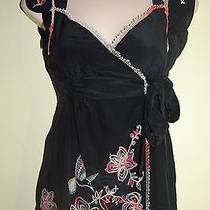 Nanette Lepore Black Silk Embroidered Wrap Top Sz 0 Xs S Photo