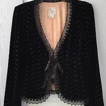Nanette Lepore Black Velvet Embroidered Jacket Sz 8 Photo