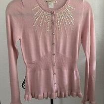 Nanette Lepore Blush Pink Fine Merino Wool Beaded Ruffle Knit Top Sweater S Photo