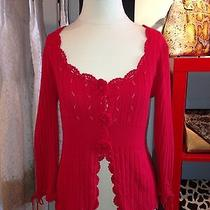 Nanette Lepore Crochet Flower Cardigan Sweater Blouse Photo