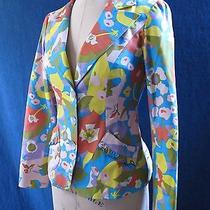 Nanette Lepore Fitted Floral Print Blazer in Bright Colors Sz 4 Photo