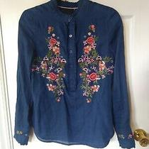 Nanette Lepore Floral Embroidered Long Sleeve Women Blouse/top/shirt Size S Blue Photo