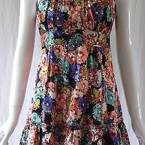 Nanette Lepore Floral Print Silk Mini Dress Cap Sleeves Ruffle Hem Size 4 Nwot Photo