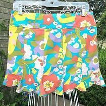 Nanette Lepore  Floral W/scalloped Flutter Hem Mini  Skirt   Pre-Owned   Sz 4 Photo
