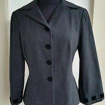Nanette Lepore Gray Wool Blazer With Velvet Ribbon Wrists Size 6  Photo