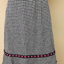 Nanette Lepore Houndstooth Fluted Hemline Skirt Elastic Waistband M Photo