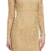 Nanette Lepore Lace Shift Dress 12 Large Gold Lace Lined Long Sleeve Dazzling Photo