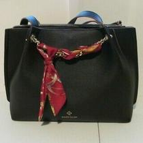 Nanette Lepore Large Black Pebbled Vegan Faux Leather Double Strap Shoulder Bag Photo