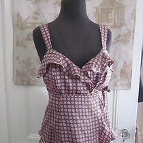 Nanette Lepore Polka Dots Silk Flirty Ruffle Sleeveless Top Size 6 Photo