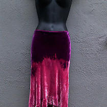 Nanette Lepore Purple Mauve Fade Tie Dye Velvet Skirt Asymmetrical Ruffles 6. Photo
