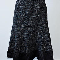 Nanette Lepore Romantic Black Blue Tuft a-Line Skirt - 6 Photo