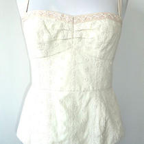 Nanette Lepore Romantic Embroidered Corset Cami Top Ivory - 4 Photo