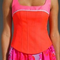 Nanette Lepore Scuba Corset Tank Top Pink Tangerine Multi Color Nwt 6 S M  Photo