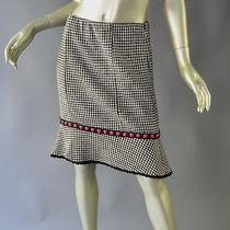 Nanette Lepore Shepherd's Check Wool Knit Fluted Skirt Size Small Photo