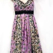 Nanette Lepore Silk Dress 4 Purple Animal Print Horse Horses Dog Dogs Bird Birds Photo