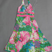 Nanette Lepore Silk Halter Dress Size 0 Bright Colorful Floral Art Deco Op Art Photo