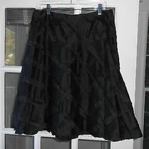 Nanette Lepore Size 6 Black 100% Silk Taffeta a-Line Skirt  Photo