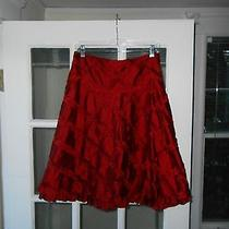 Nanette Lepore Size 6 Red 100% Silk Taffeta a-Line Skirt  Photo
