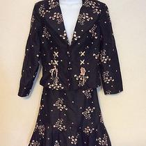 Nanette Lepore Skirt Suit Corset Blazer Jacket 8 Black Silk Floral Embroidered Photo