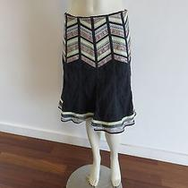 Nanette Lepore Skirt Sz4 Dark Blue Beautiful Taping Details Lined  Photo