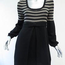 Nanette Lepore Sweater Dress With Bow Black and Beige Size Small Gently Worn Photo