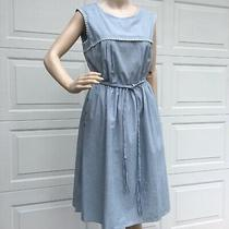 Nanette Lepore   Sz 4   Denim Blue Cotton Dress Sleeveless Full Skirt a-Line New Photo