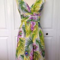 Nanette Lepore Tea Dress Peacock Print Women's Size 0 Bright Colors Photo