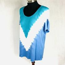 Nanette Lepore Tie-Dye Blouse Shirt Top Tunic Blue White Stretch Xl Photo