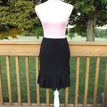 Nanette Lepore Tweed Boucle Black Skirt Fluted Hem Beautiful Xs Knee Length Mint Photo