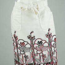 Nanette Lepore White Embroidered Red Floral Bottom Tie Waist Skirt Size 8 Photo