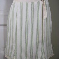 Nanette Lepore Why-All-the-Games Green Ivory Striped Skirt 6 Photo