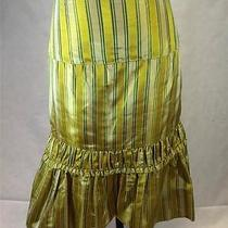 Nanette Lepore Women's Yellow Taffeta Striped Skirt Size 2 Photo