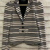 Nanette Lepore Womens Black and Blush Striped Blazer Jacket Sz. 4 Euc Photo