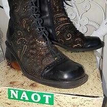 Naot Women Steampunk Hudson Granny Paisley Black Leather Lace Up Boots Size 38 Photo