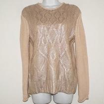 Narciso Rodriguez for Designation Womens Gold Ivory Foil Sweater Cable Knit Photo