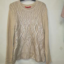 Narciso Rodriguez- Natural & Gold Cable Knit  Sweater- -Size-M-Nwt Photo