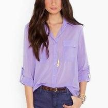 Nasty Gal Chloe Silky Sheer Grunge Lilac Purple Button Down Blouse Shirt Top L Photo