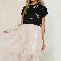 Nasty Gal Just Like Heaven Mesh Tutu Skirt S Tulle Tiered Maxi Midi Blush Pink  Photo