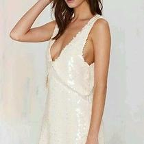Nasty Gal Love Hangover Dress Nude Blush Pink Sequin Sz Xxs Plunging Chiffon  Photo
