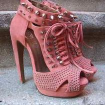 Nasty Gal Punk Jeffrey Campbell Strappy Studded Leather Heels New Coral 35 5 Photo