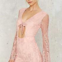 Nasty Gal Sweet Virginia Lace Romper L Blush Pink Eyelash Sheer Tie Cutout Tobi Photo