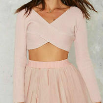 Nasty Gal Women's Sz Small  Knit Crop Top Sweater Blush Pink Cotton Long Sleeve Photo